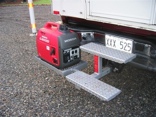 External generator rack on a truck camper