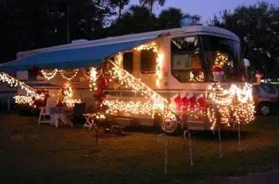 Christmas lights on RV