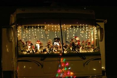 Santas on windshield of RV