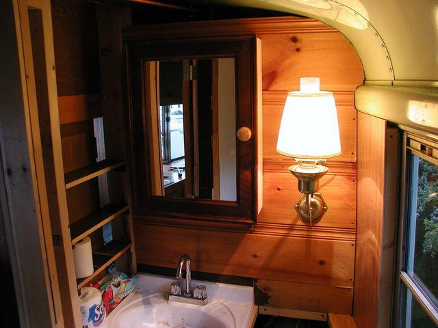 School Bus RV Conversion Bathroom