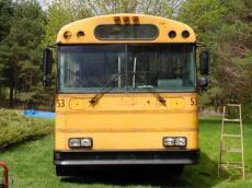 School Bus RV Conversion Ext Before
