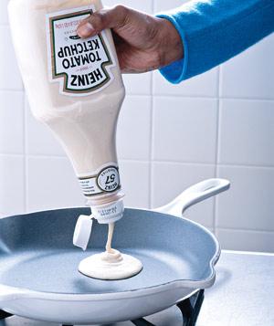 RV Kitchen Pancake Batter from Ketchup Bottle