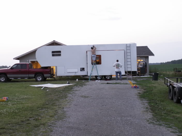 Completed custom fifth wheel trailer