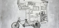RV Art: Custom Pop Up Camper and Camper Bike