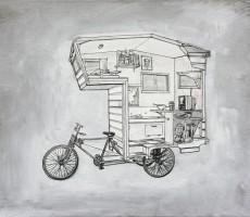 RV Art: Custom Pop Up Camper and Camper Bike