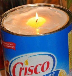 RV Light from a Candle Made of Crisco