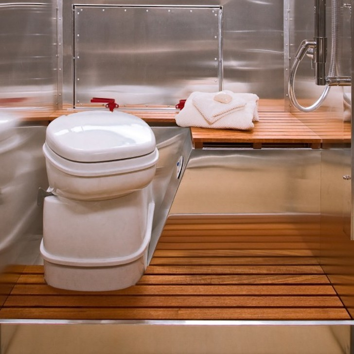 Bathroom in a Bowlus trailer