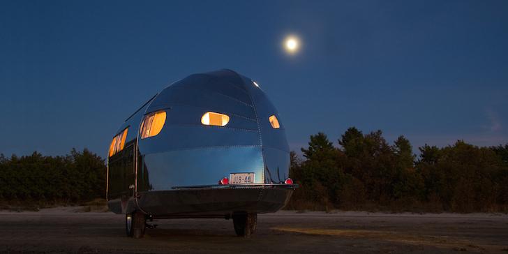 Bowlus trailer at night
