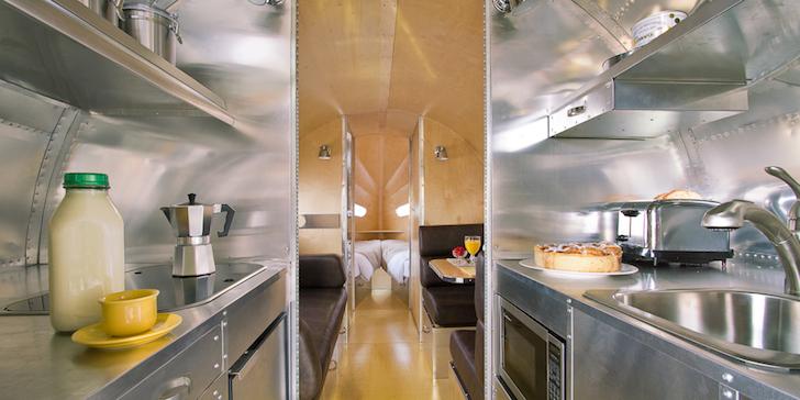 Inside a new Bowlus travel trailer