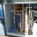 RV Basement Storage for Folding Chairs Using Plywood Dividers