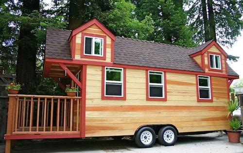 Tiny House Trailer RV House Made of Redwood Custom Fold Up Deck