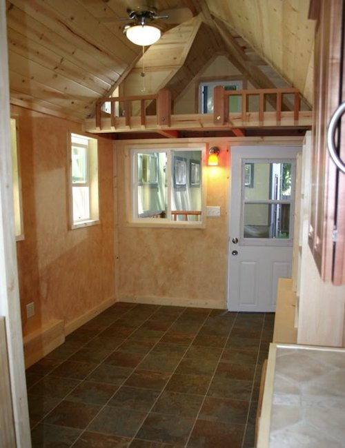 tiny house trailer rv house made of redwood custom fold up deck - Tiny House Trailer Interior