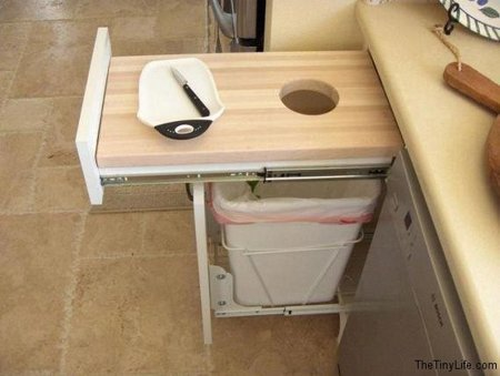 RV Cutting Board Drawer Mod over the Trash Can