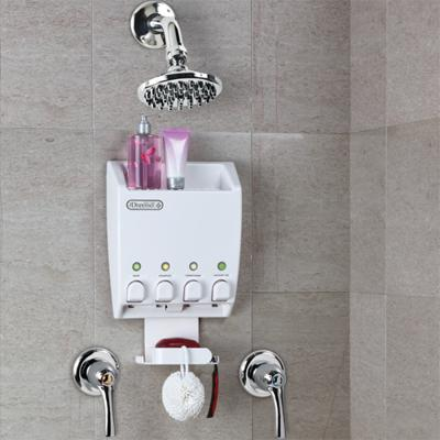 wall gel mounted product shampoo liquid soap double shower conditioner detail dispenser