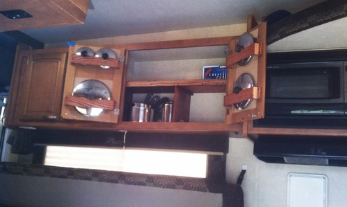 RV Cookware Storage Idea For Behind Cabinet Doors – Cheap And Simple