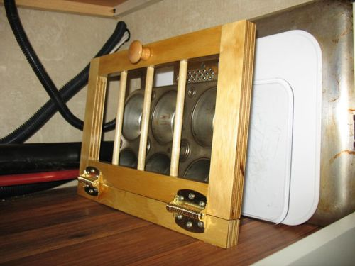 Clever Rv Cabinet Storage Idea For Pans Sheets And
