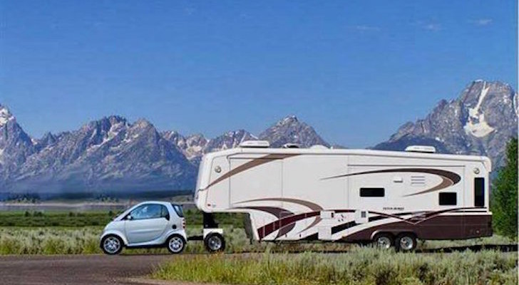 Funny RV: Smart Car Towing a Fifth Wheel