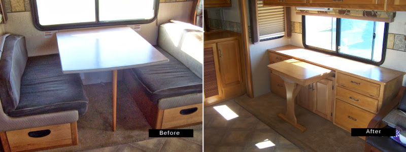 Swap out a rv dining table for more functional credenza