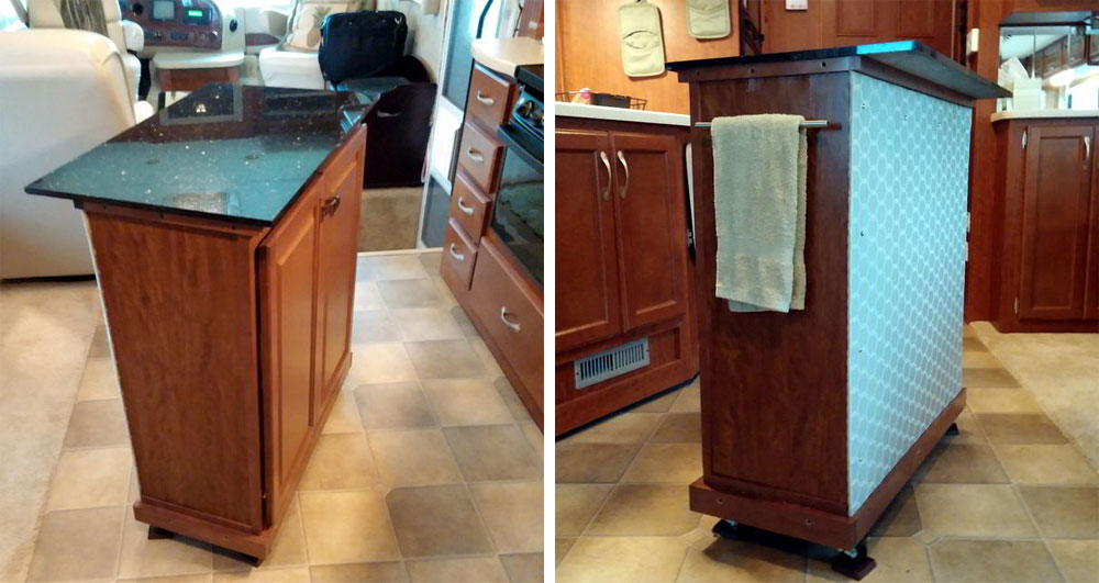 Danny d rv tips diy addition rv kitchen storage and for Kitchen countertop storage solutions