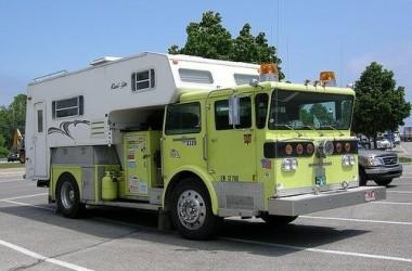 Funny RV: Fire Truck Camper in Case of Emergency