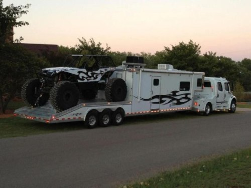 Extreme toy hauler the size of the toy vs size of the rv for Toy hauler motor homes