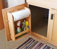 RV Cabinet Door Storage with Paper Towel Holder and Shelf