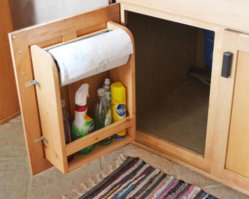 RV Cabinet Door Storage with Paper Towel Holder and Shelf