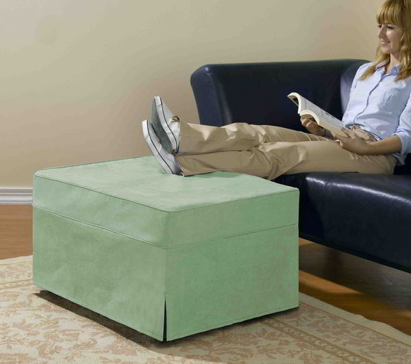 Ottoman Use rv ottoman that doubles as a memory foam pull out bed