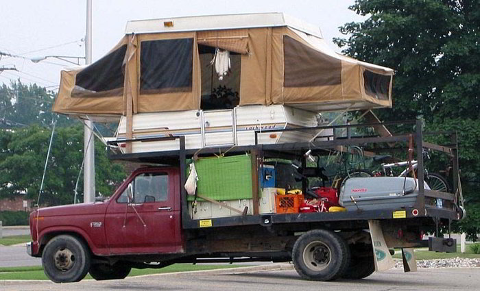 Funny RV: Pop Up Truck Camper to Deter Bears and Sasquatch