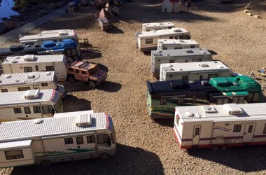 A Serene Beachside RV Park Or A LEGO RV Collection?