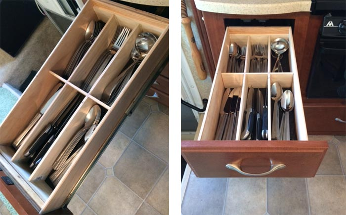 Our Completed RV Kitchen Drawer Organizers