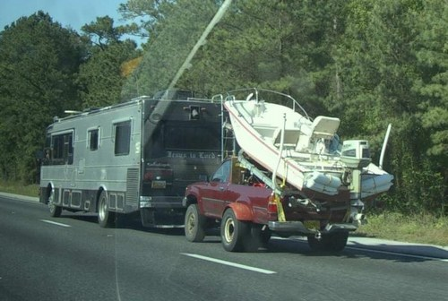 Motorhome Towing a Truck & Boat+Trailer: What Could Go Wrong?