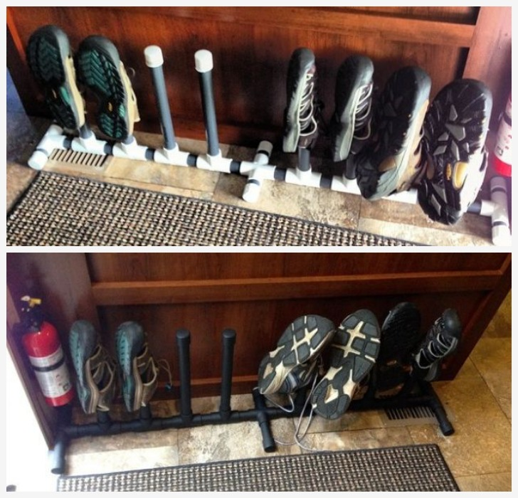 RV shoe rack