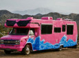 Custom Painted One of Kind Pink Crazy RV with Sunglasses!