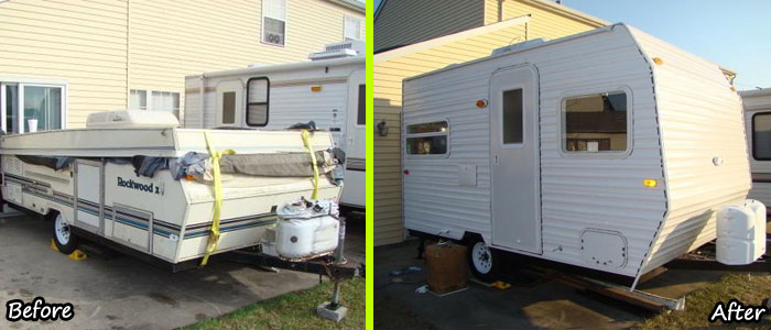 diy camper trailer built from an old pop up on a budget of 4500. Black Bedroom Furniture Sets. Home Design Ideas
