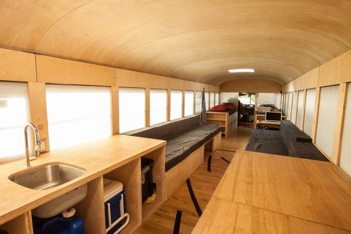 School Bus Conversion Interior
