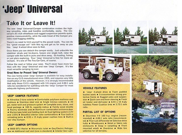 Advertisement for the CJ5 Jeep Camper