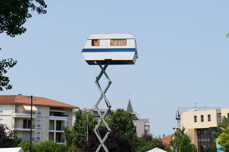 Camper on a tree picker