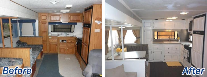 RV interior decor - kitchen & 16 Year Old Jayco Travel Trailer Gets Interior Decor Makeover