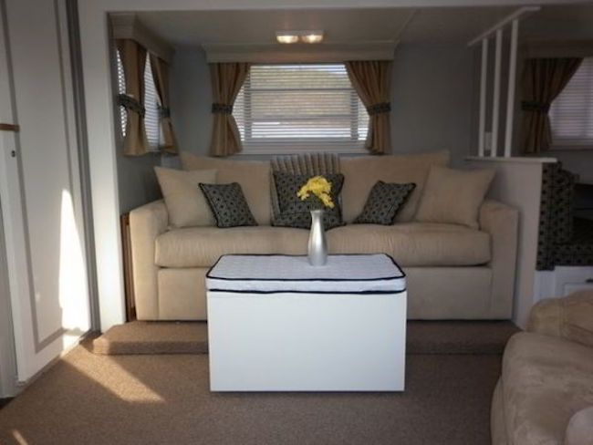 RV interior decor living area - second couch & 16 Year Old Jayco Travel Trailer Gets Interior Decor Makeover