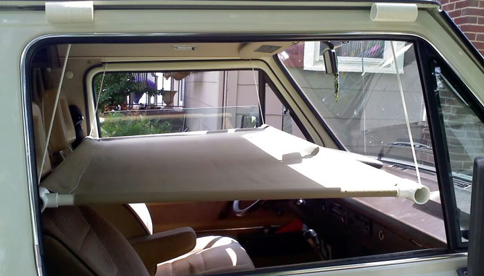 ingenious hanging  idea  add sleep space   car truck  rv