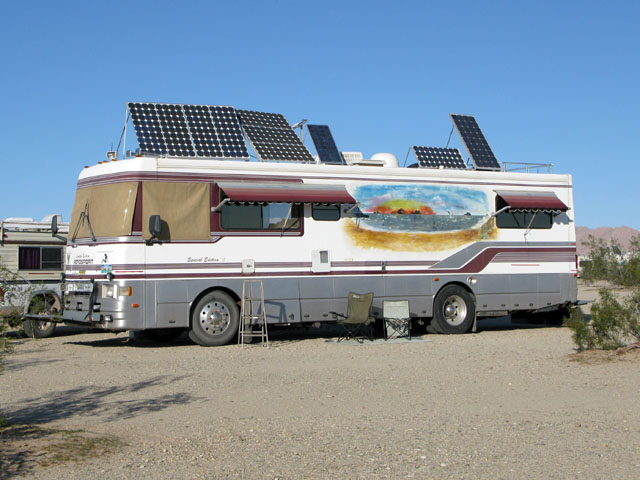 RV motorhome with solar panel