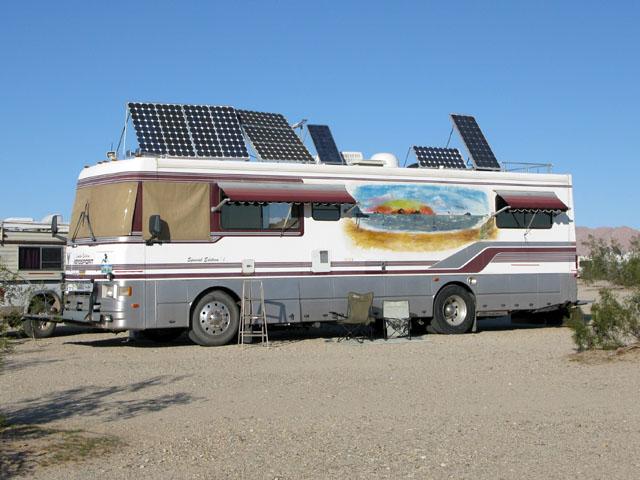 RV motorhome with solar panel