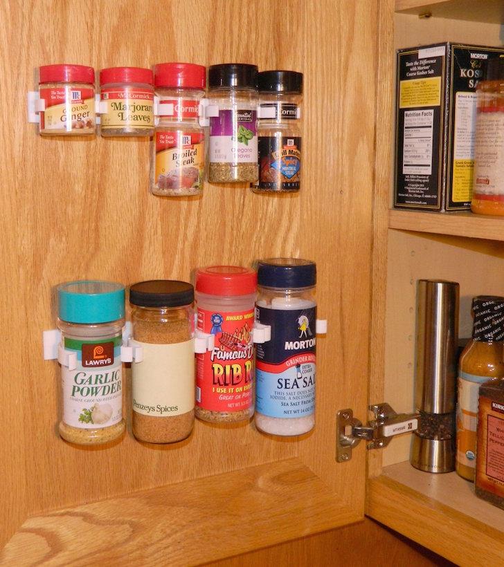 Sprice rack on cabinet door