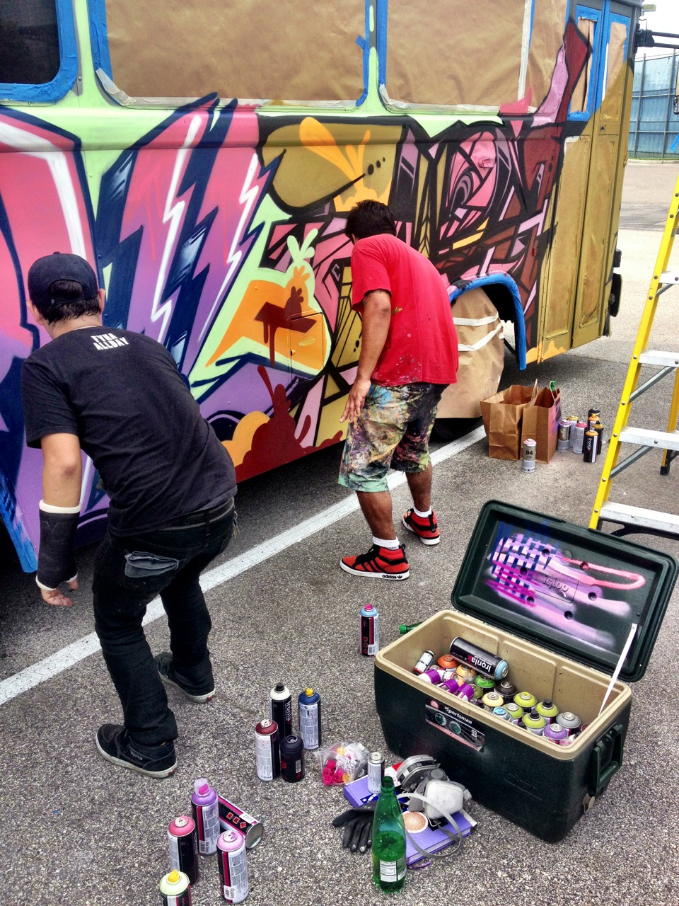 painting the cargo space artists colony bus