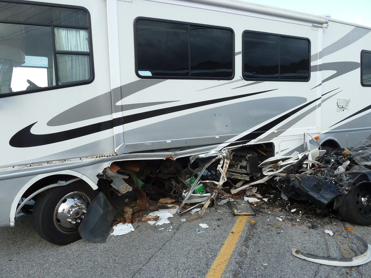 chassis of rv damaged from crash