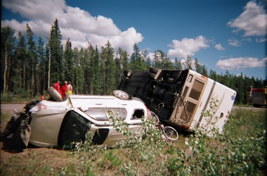 flipped over motorhome