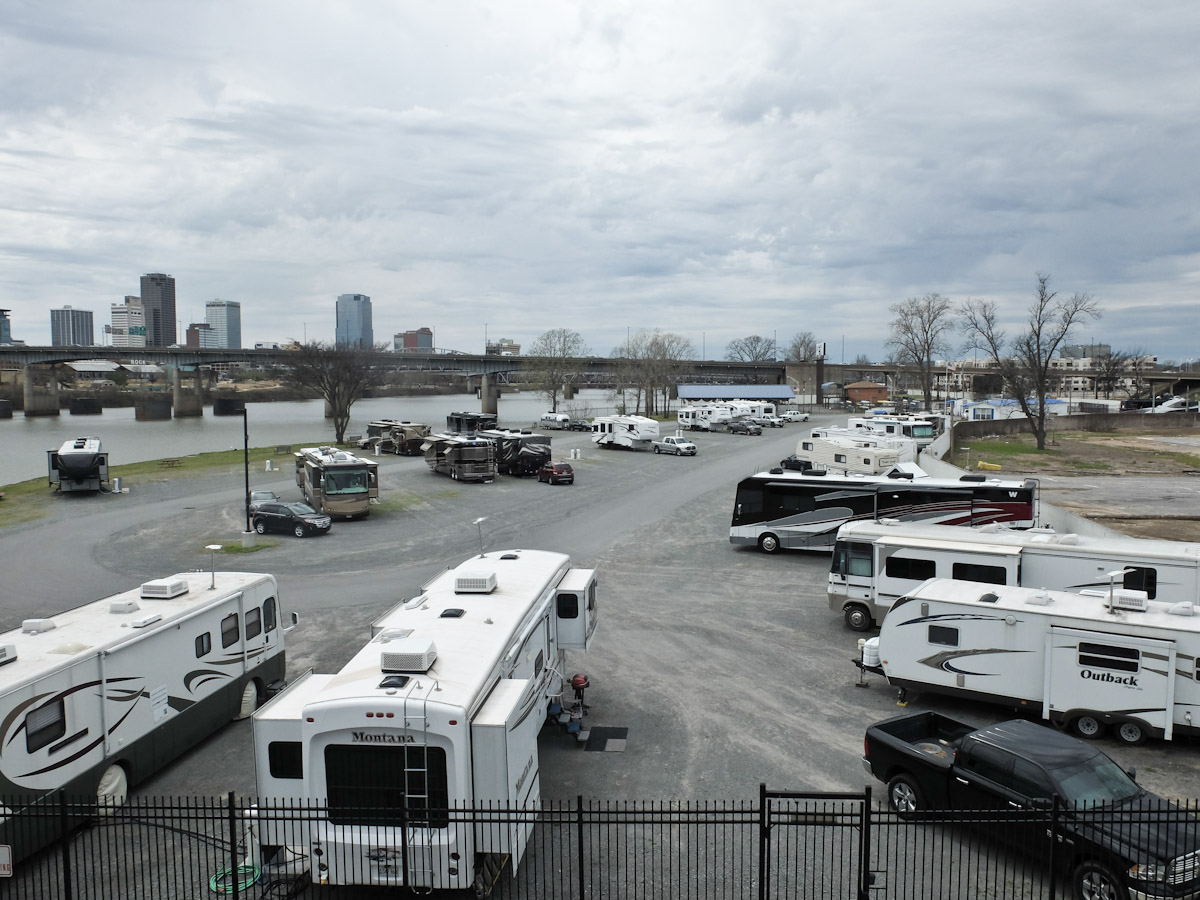 many types of RVs at campground
