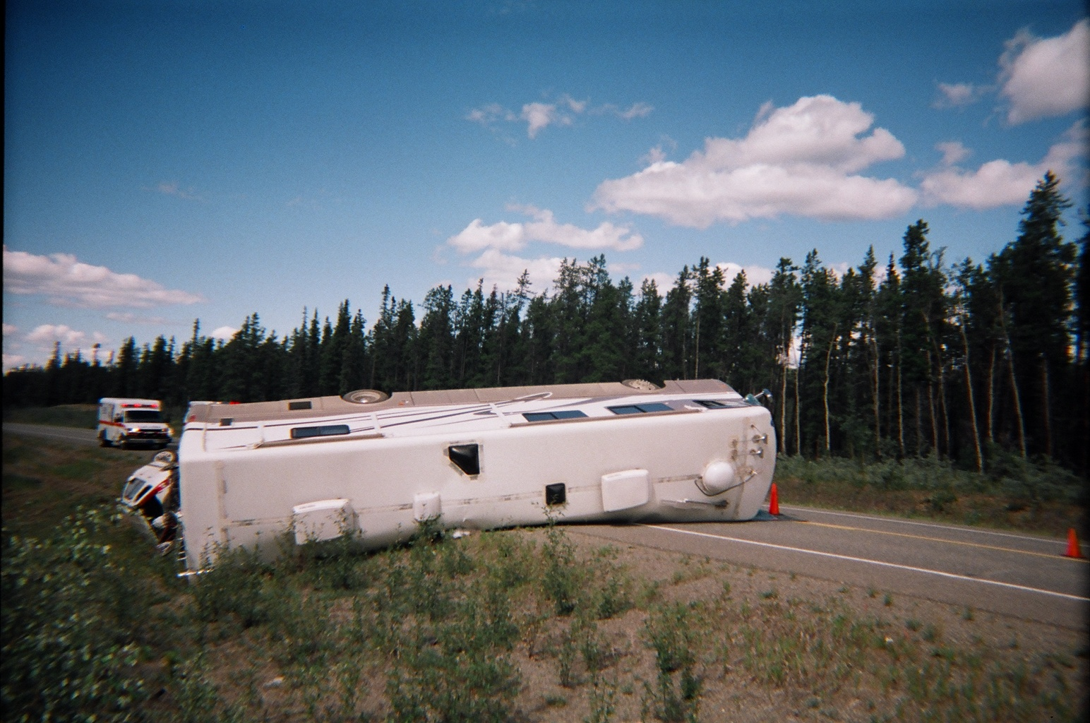 The motorhome swerved in the ditch, but wasn't able to prevent itself from tipping over.