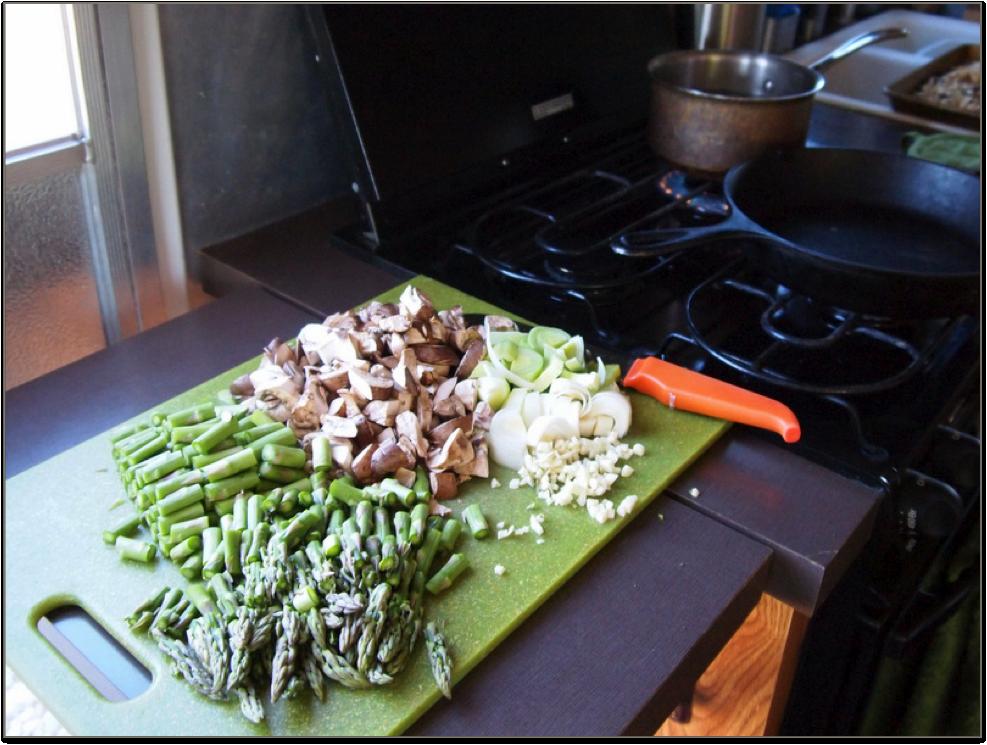 prepaing vegetables in an rv kitchen